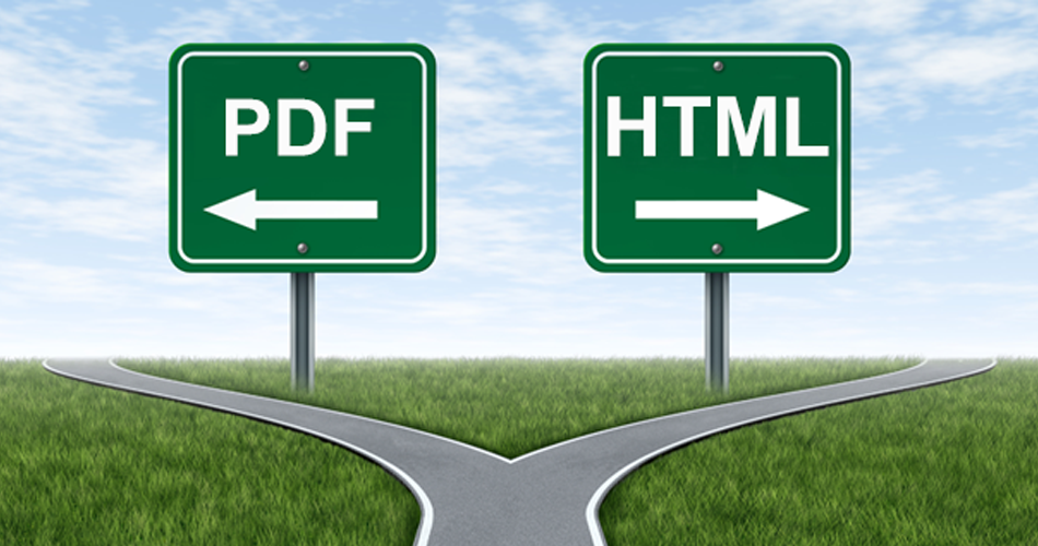 A road that splits into two paths - one has a sign reading PDF, the other HTML.