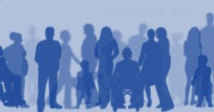 Group of people in silhouette, including a person in a wheelchair and a person with a guide or service dog