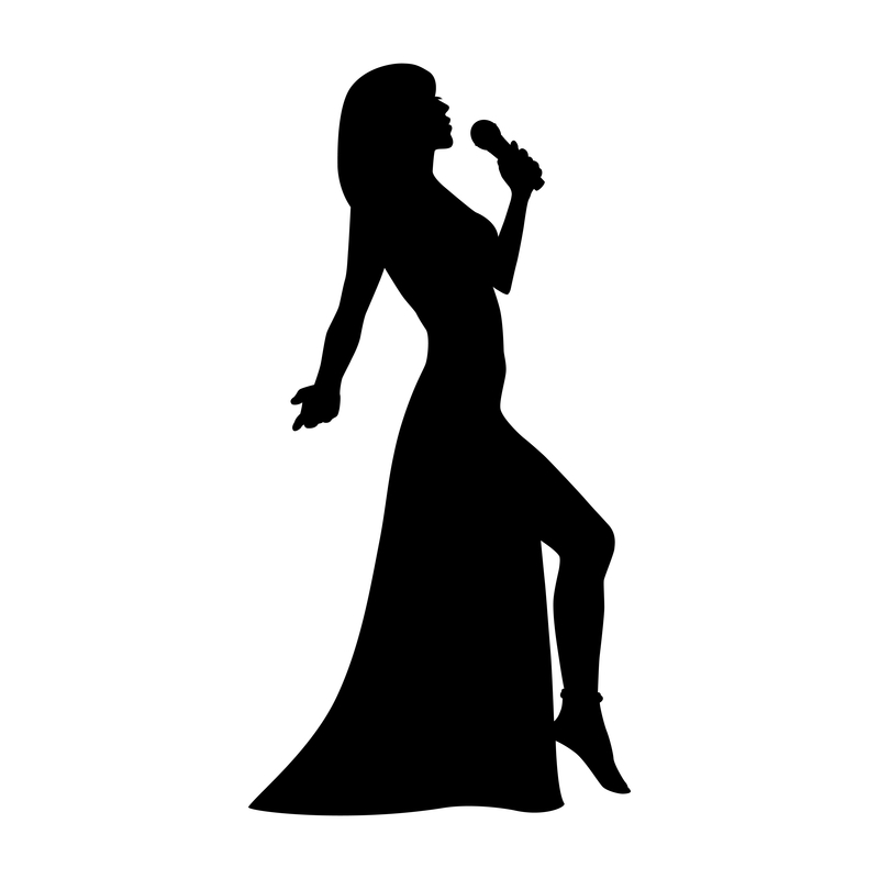 Silhouette of woman singing with a microphone in a long dress