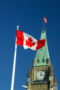 Maple Leaf Canadian Flag flying on Parliament Hill