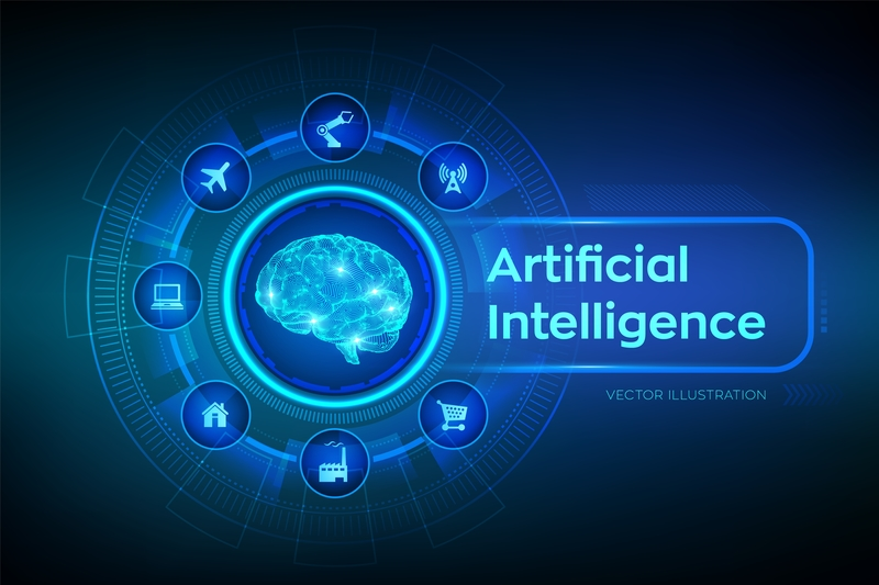 Artificial Intelligence Concept - a brain surrounded by icons for work, travel, home, shopping