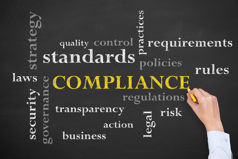 Word Collage around Compliance including satndards, requirements, legal risk policies, rules, transparency