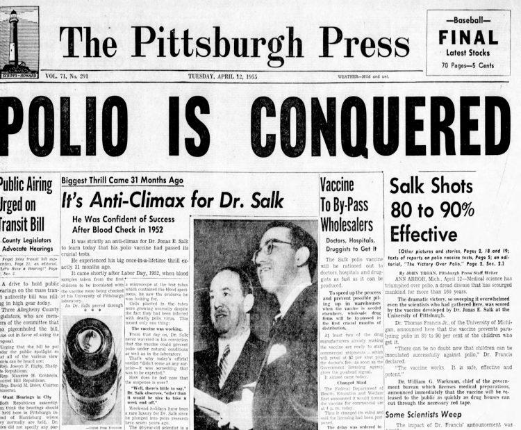 Polio Vaccine Frontpage headline in Pittsburgh Press