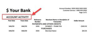 Sample Credit Card statement with heading level 1 circled to demonstrate batch processing
