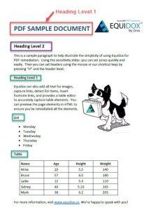 PDF Heading sample with 1 heading level 1, one heading level 2, and 3 heading level 3.