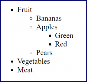 Nested list showing fruit, vegetables and Meat. Child items under fruit of bananas, apples, pears, with child items under apples of green and red