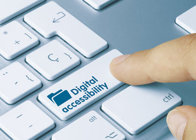"Keyboard with a button on it that reads ""Digital Accessibility"""