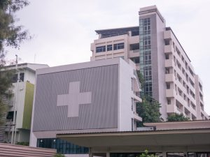 Hospital building. Hospitals must have 508 compliance if they receive federal funding.