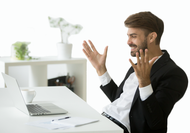 Man in front of his laptop with his hands in the air looking relieved because Equidox supports accessible PDF Documents