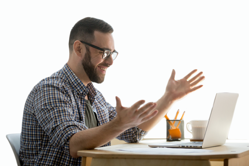 Man happy about his increased market share with accessibility