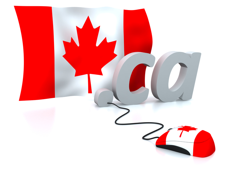 Concept Canadian flag attached to a computer mouse