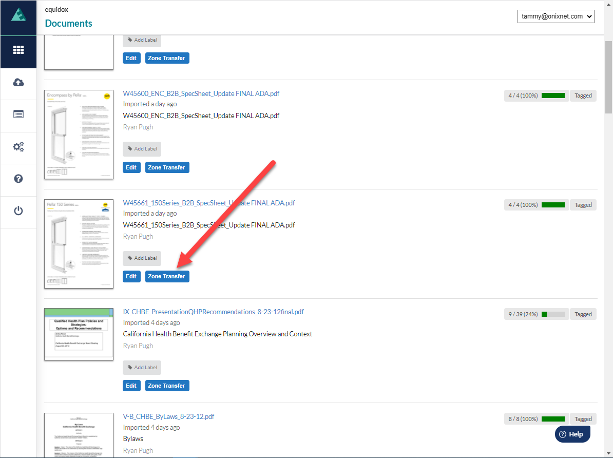 Documents Page with arrow pointing to the Zone Transfer button alongside the chosen document.