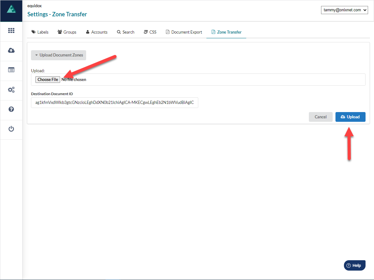"""Settings page with arrow poingint to the """"Choose File"""" button and the Upload Button"""