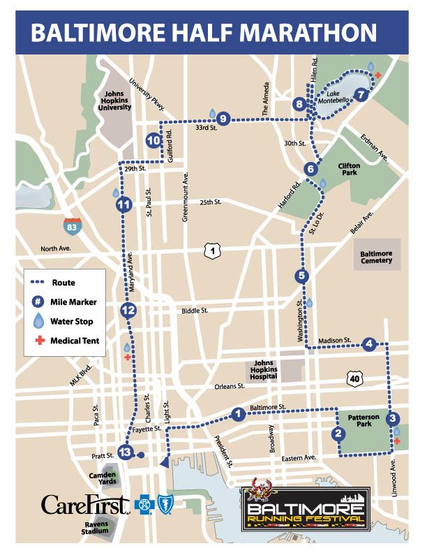Example map of the 2021 Baltimore Half Marathon Route
